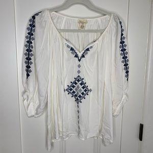 Andrea Jovine White Blue Embroidery Tassel Blouse